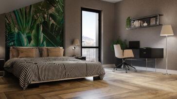 Nowoczesna sypialnia z drewnianą podłogą Pradyż Trophy